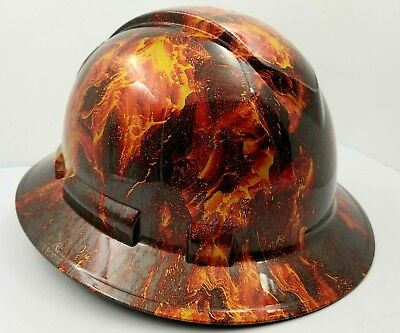 Full Brim Hard Hat Custom Hydro Dipped New Hot Head Lava Volcano Fire New