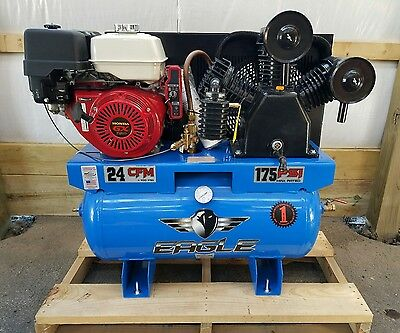 13hp Gas Eagle Truck Mount Honda Electric Start Air Compressor 24 Cfm 100 Psi