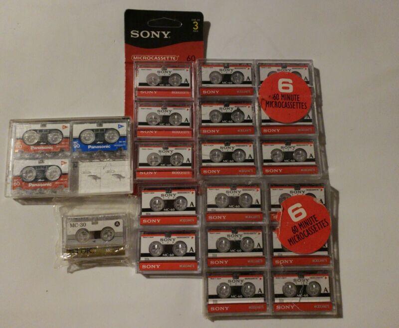 21 Sony MC-60 & Panasonic,TDK Microcassette Tapes