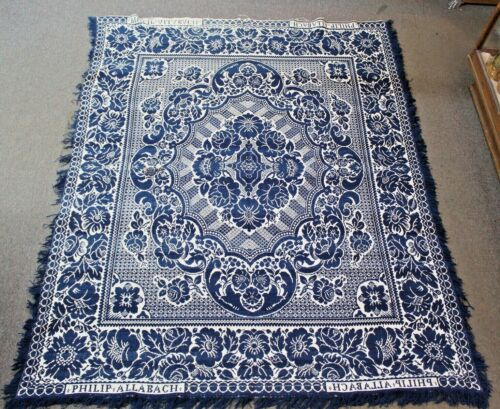 Antique Floral Pattern SIGNED Jacquard COVERLET Blanket PHILIP ALLABACH Michigan