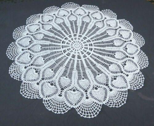 "Vintage Crochet Lace Doily Tablecloth White Cotton 36"" Round Pineapple Design"