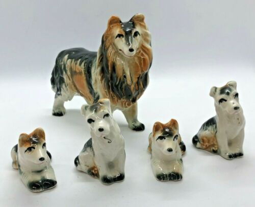 Porcelain Collie Dog with Puppies Figurine Japan