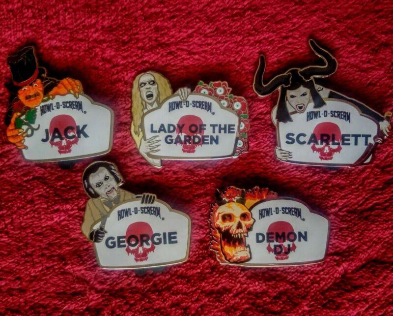 Busch Gardens 2019 HOS Howl-O-Scream Ambassador Name Tag 5 Pin Complete Set