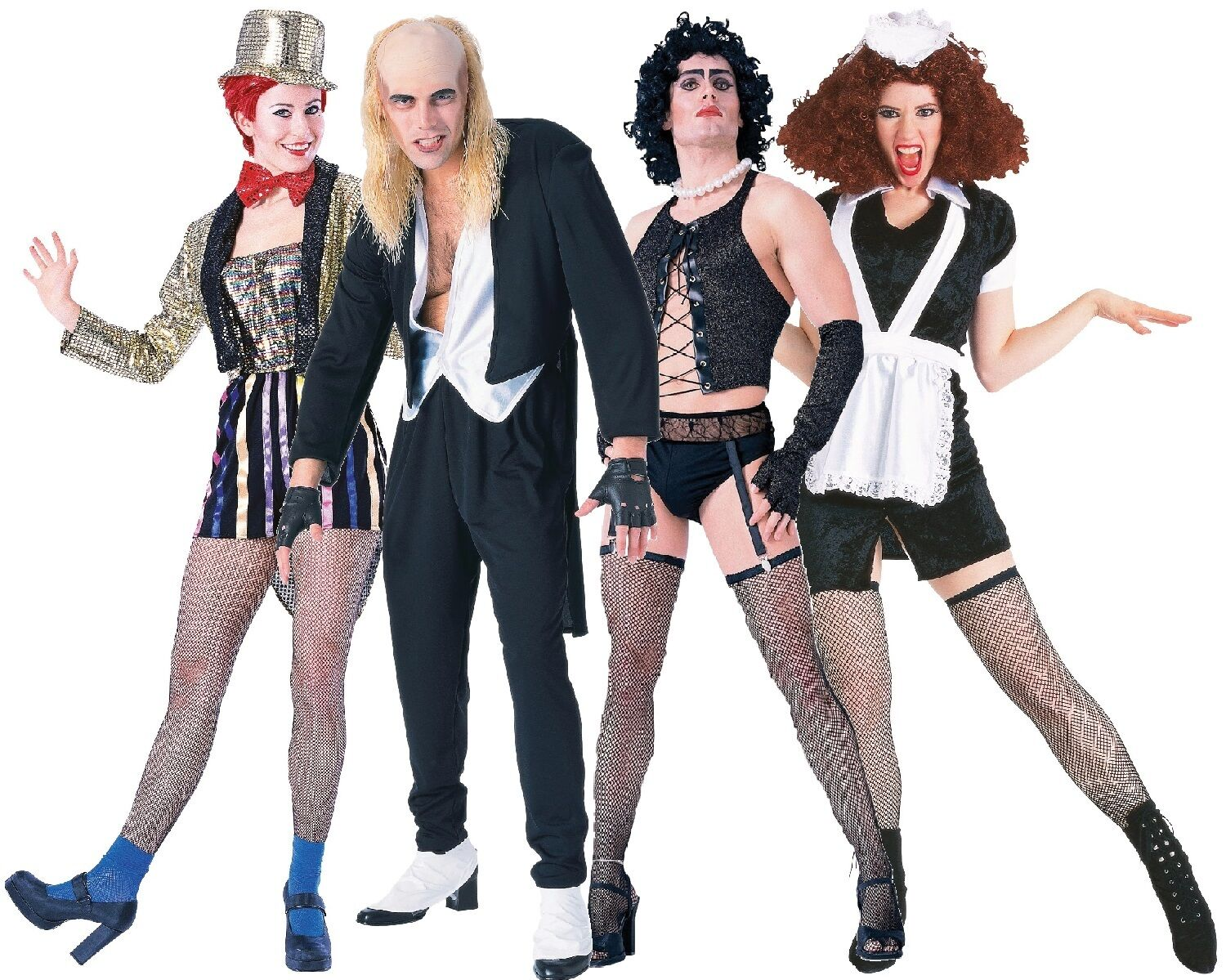 Details about Rocky Horror Show Cast Halloween Horror Stag Do Hen Fancy  Dress Costumes Outfit