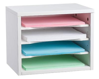Adiroffice White Wood Desk Organizer Workspace Organizers