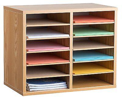 AdirOffice Medium Oak Wood 12 Compartment Adjustable Literature Organizer