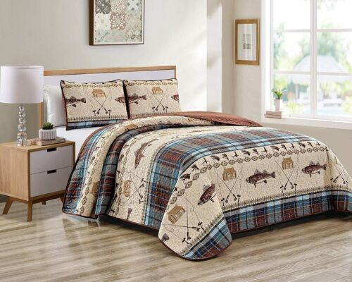 Fly Fishing Themed Rustic Cabin Lodge Quilt Stitched Bedspread Bedding Set with