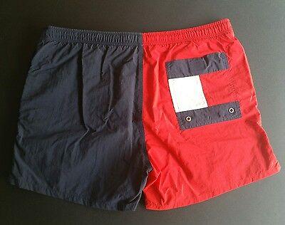 Vintage 90s Colorblock Tommy Hilfiger Big Logo Swim Trunks Red Navy Blue Medium