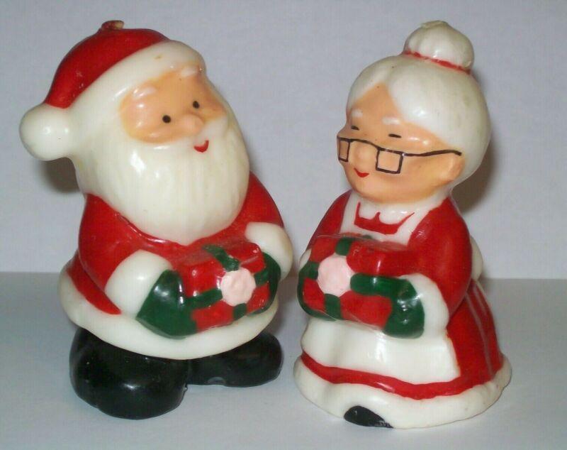 VINTAGE CHRISTMAS SANTA & MRS CLAUS WAX NOVELTY CANDLES HOME TABLE VILLAGE DECOR