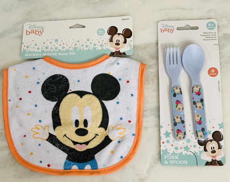 NIB Disney Baby Mickey Mouse Bib, Fork, & Spoon 3pc. Set BPA Free