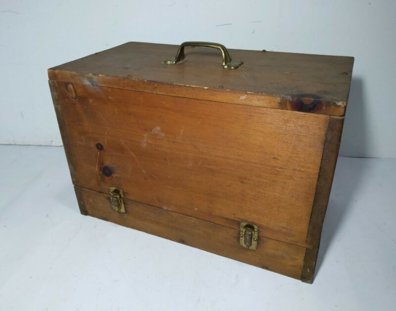 Antique Wood Box Carrying Case Brass Handle Sewing Machine/Tool Primitive Rustic