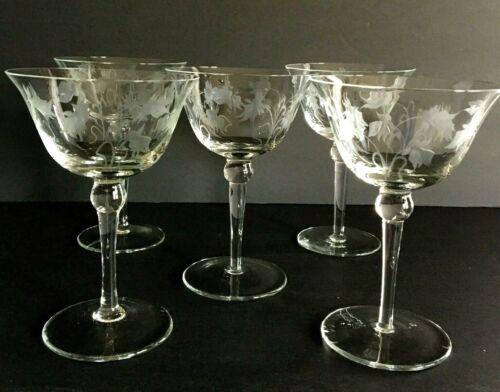 Vintage Danish Design Romania Etched Champagne Dessert Glasses Set of 5