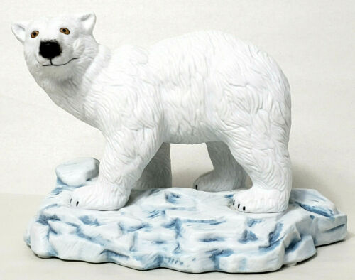 "White Polar Bear Blue White Iceberg Slabs Hand Sculpted Figurine 7"" x 5"""