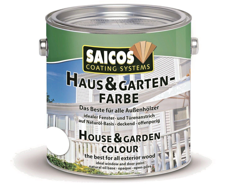 Saicos Haus & und Garten-Farbe deckend Naturöl-Basis Holz Fenster Fassaden offen