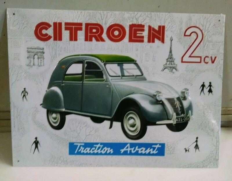 CITROEN 2CV Luxury Traction Avant A2L Dec 1956 Vintage Metal steel Sign ©1997