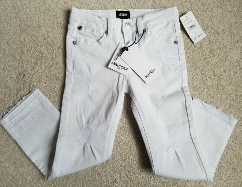 NEW Hudson Kids Jeans White Ankle Crop Skinny Distressed Unisex 5