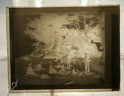 Vintage GLASS NEGATIVE SLIDE People Camping Around Camp Fire