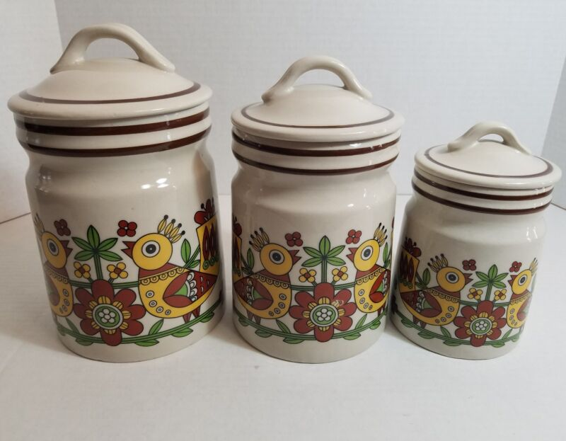 Chicken Canister Kitchen Set Vintage Classic 1970