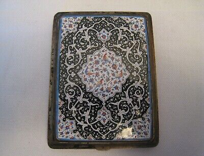 Vintage Antique Sterling Silver Enamel Cigarette Case
