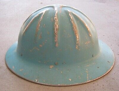 Vintage Willson Safety Helmet Tough Aluminum Hard Blue Hat Made In Usa Good