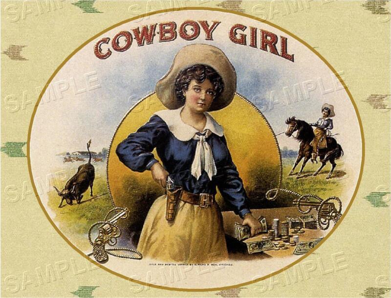 VINTAGE ANTIQUE COWBOY GIRL WESTERN COWGIRL RODEO *CANVAS* CIGAR BOX LABEL ART