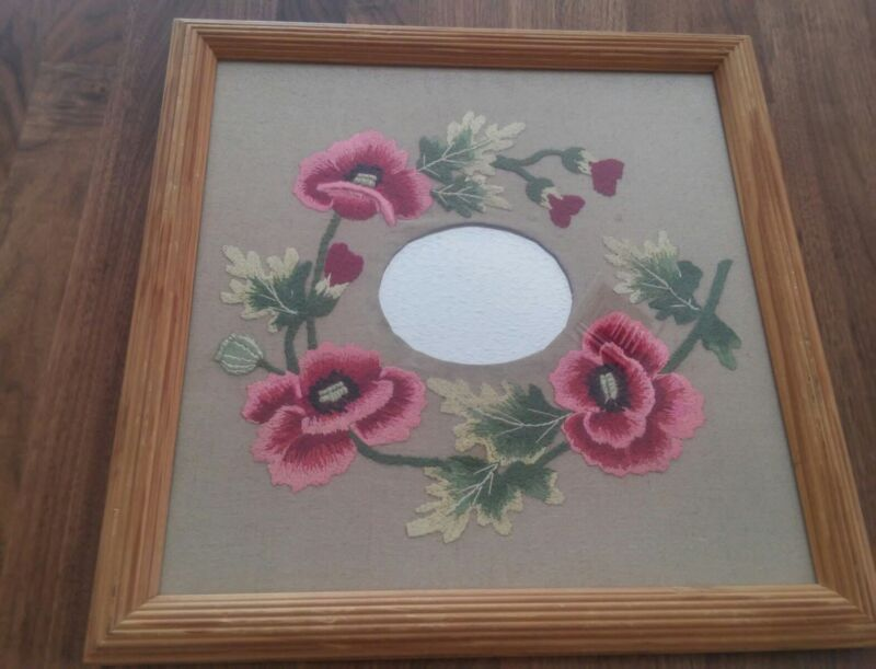 Handmade Embroidered Pink Flower Decorative Mirror Professionally Framed w Glass