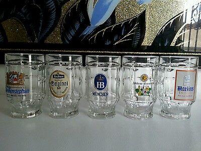 Beer mugs  set of 5 heavy glass ( Germany ) pre_owend .