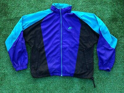 VTG 80's 90's Nike Windbreaker Jacket L Large Blue Black Swoosh Hood