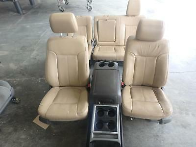 11-16 Ford F250 F350 Front Rear Seat Console Tan Lariat Leather Power Heat