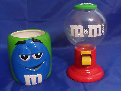 M&M Red Plastic Candy Dispenser Gumball Machine & 2003 Galerie M&M Blue Canister for sale  Oviedo