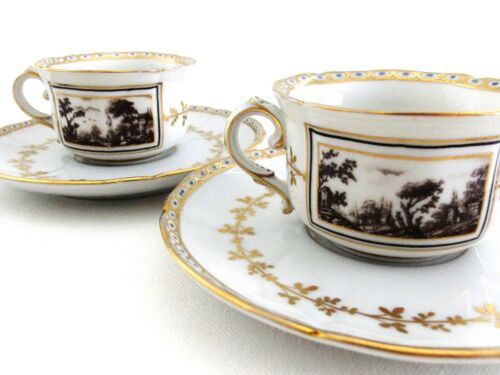 """TWO RICHARD GINORI """"FIESOLE"""" DEMITASSE CUPS & SAUCERS BLACK AND WHITE WITH GOLD"""