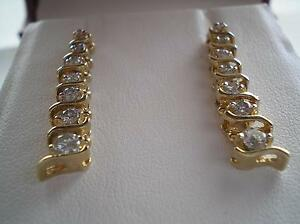 """NEW DIAMOND DROP EARRINGS - .82TCW = .41CT EACH - """"FOR A LADY"""" Bowenfels Lithgow Area Preview"""