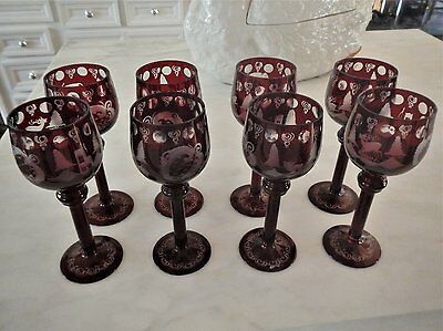 Set 8 Egermann stemware Ruby Red cut to clear, Stag-Castle