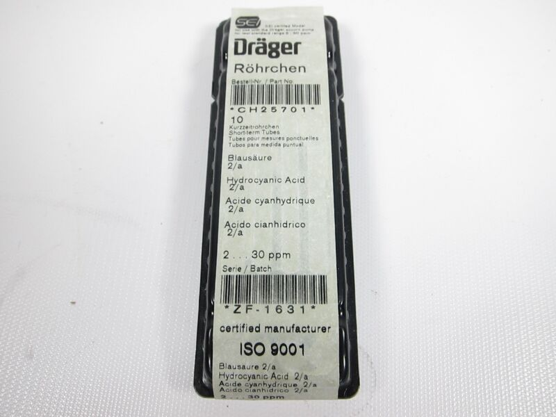 New Box Of 10 Drager CH25701 Hydrocyanic Acid Detector Tubes EXPIRED