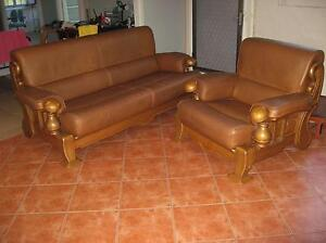 Sofa: Leather and timber Machans Beach Cairns City Preview