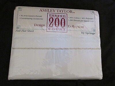 Vintage Flaches Blatt (Neu Vintage No-Iron Ashley Taylor Springs Voll Flach Blatt 200 TC Creme & Gold)