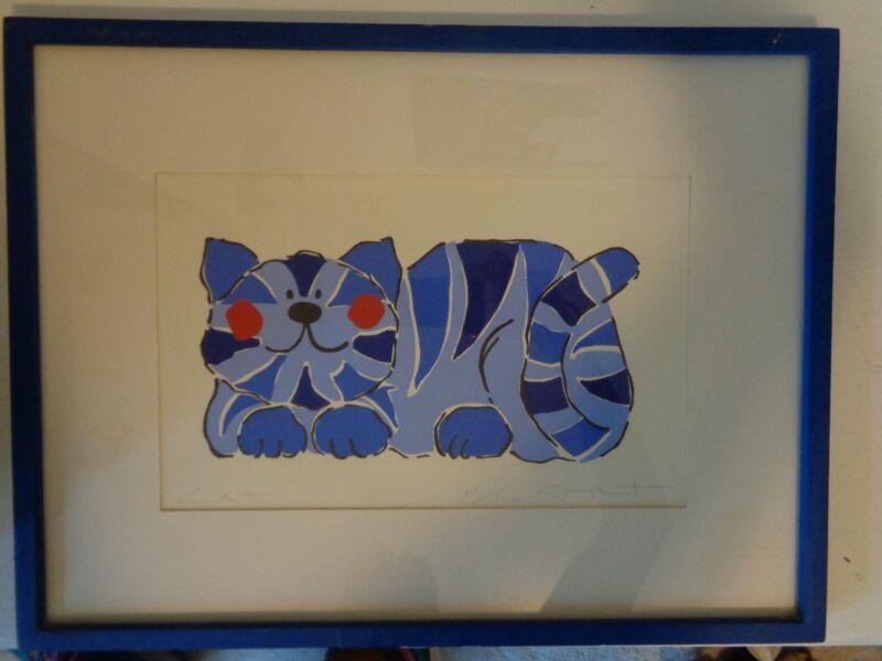 Artist Proof Gary Hart CAT Blue Whimsical Cat Art Picture Print/Proof N/40