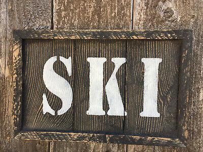 Ski Lodge Decor (SKI Cabin Decor Lake House Lodge Bar Pub Reclaimed Wood Rustic Wall Art HP)