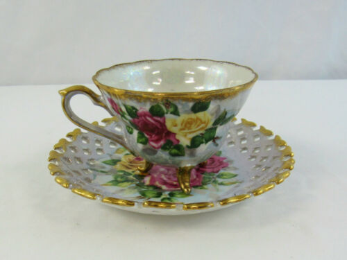 Vintage Napco Handpainted Pink & Yellow Floral Footed Teacup and Saucer 1DD293