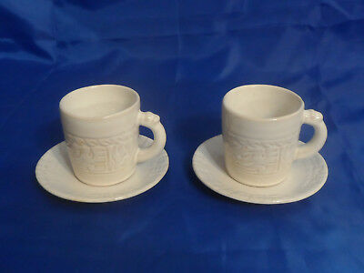 Frankoma Mayan Aztec White Sand CUPS & SAUCERS - Set of 2 - Embossed Symbols