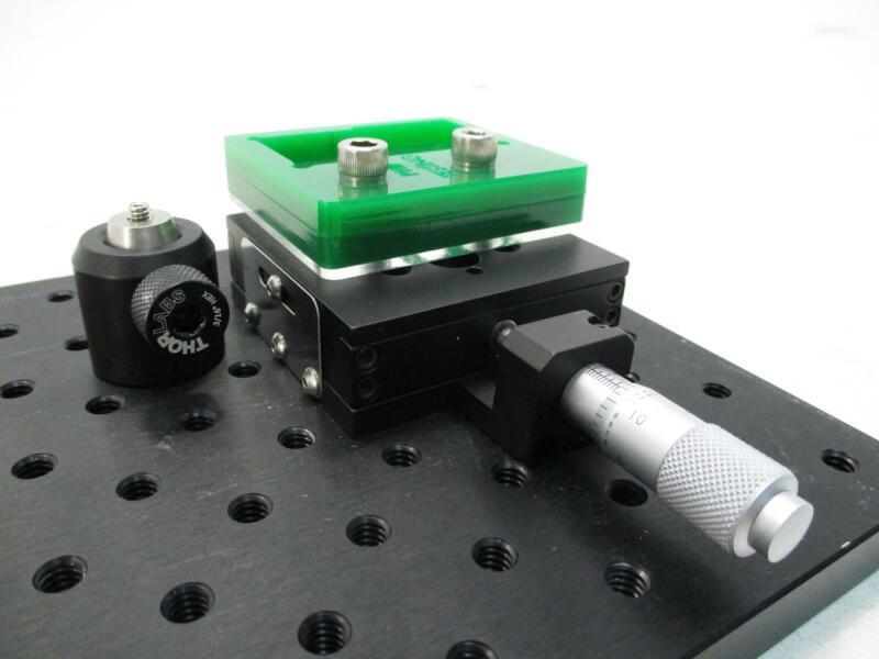"""THOR LABS SINGLE AXIS MICROMETER OPTICAL STAGE W/ 12"""" X 6"""" BREADBOARD"""