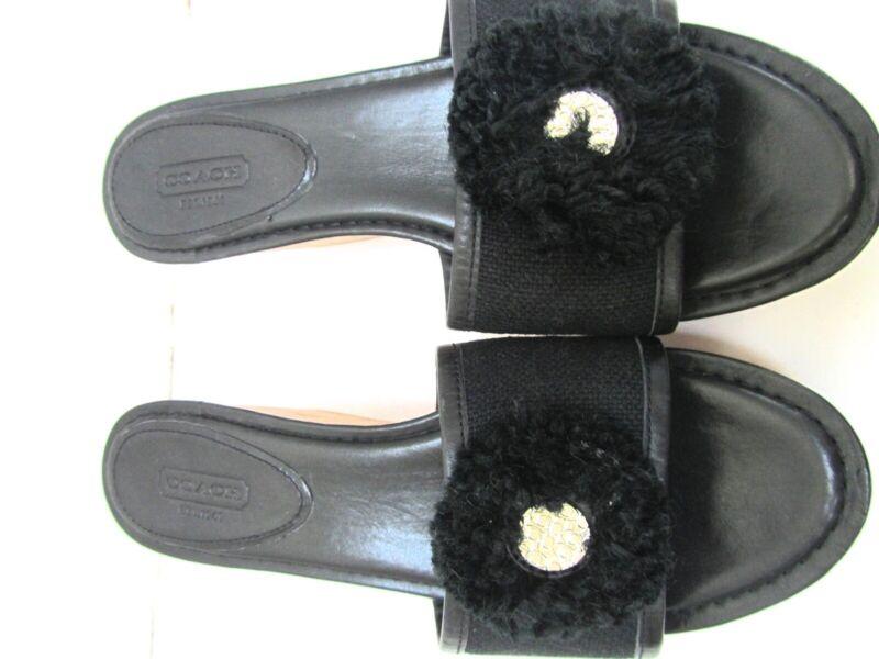 ce67e1d43a Coach Jazmin Black Leather Cork Platform Wedge Sandals Slides Shoes ...