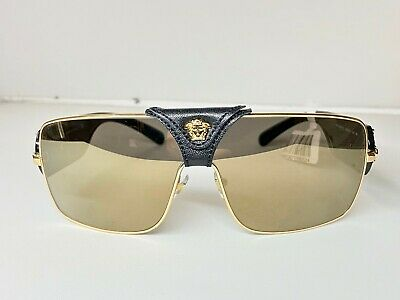 Men's Versace Sunglasses Black and Gold with Leather MOD. 2207Q 1002/5 140 3N