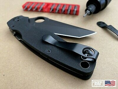Black Titanium Deep Carry Pocket Clip For Spyderco PM2 Manix Delica + More