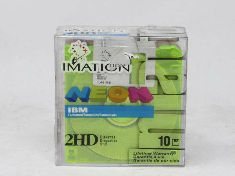 "IMATION NEON DISKETTES 3.5"" Floppy Dics 2HD N.O.S. Sealed! Quantity 10 Free Ship"