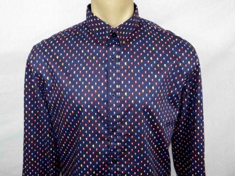 John Lennon Mens Medium Multi-Color Paisley Long Sleeve Casual Button Shirt New