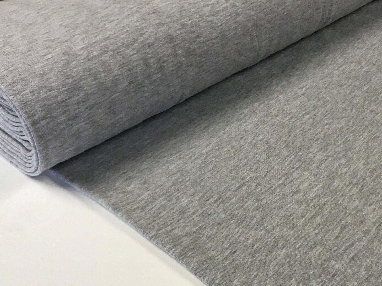 Sweatstoff meliert uni viele Farben METERWARE ÖKOTEX angeraut 140 cm breit Hellgrau