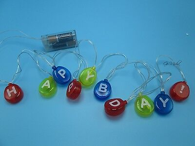 LED String Lights HAPPY BIRTHDAY Balloons 6ft Strand Indoor Battery Operated NEW
