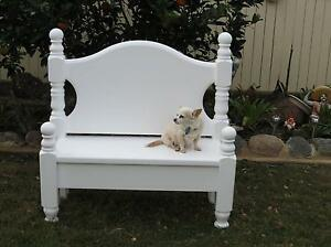 Upcycled Single Bed Bench/Garden Seat/White. Redcliffe Redcliffe Area Preview