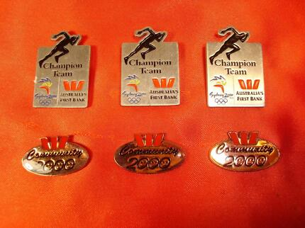 COLLECTABLE GROUP of SYDNEY 2000 OLYMPIC WESPAC SPONSOR PINS Forest Lake Brisbane South West Preview